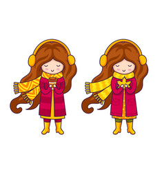 set of cute cartoon little girls in autumn coat vector image