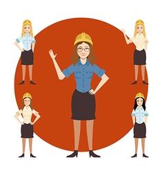 Set of engineer women vector image