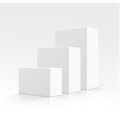 Set of White boxes different sizes in Perspective vector