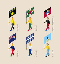 Set people with flags caribbean countries vector