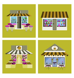 Shops and stores icons set in flat design vector