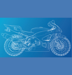 Sport motorcycle technical wire-frame eps10 vector