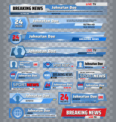 Sport title bars breaking news tv backdrops vector