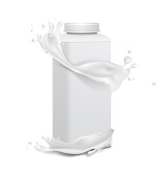 square plastic bottle with screw cap and milk vector image