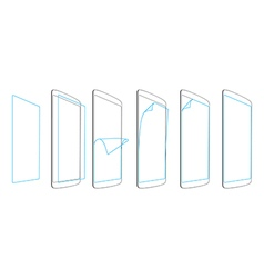 Steps of sticking the screen protector smartphones vector
