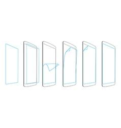 Steps sticking screen protector smartphones vector