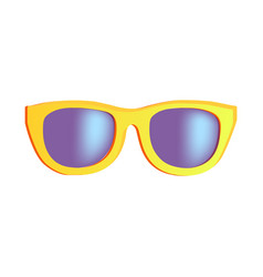 Stylish sunglasses in bright yellow plastic rim vector