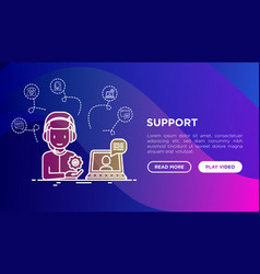 support concept operator of call center vector image