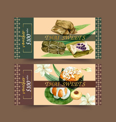 Thai sweet voucher design with pudding sticky vector