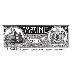 The state banner of maine the pine tree state vector