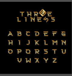 Three line modern alphabet gold vector