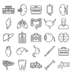 Transplantation organ icons set outline style vector
