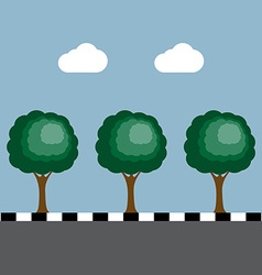 Trees at footpath on the road vector