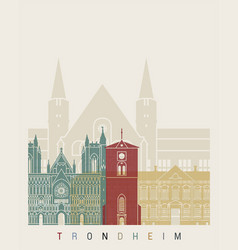 Trondheim skyline poster vector