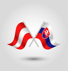 Two crossed austrian and slovak flags vector