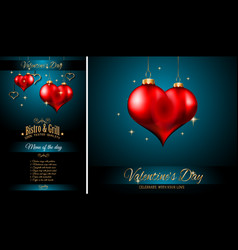 Valentines day restaurant menu template vector