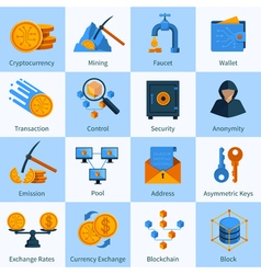 Virtual Currency Icons Set Flat Style vector image