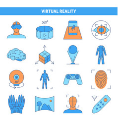 virtual reality icon set in colored line style vector image