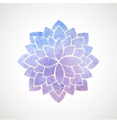 Watercolor lotus flower blue and violet vector