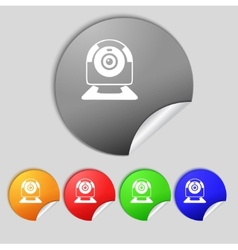 Webcam sign icon Web video chat symbol Camera chat vector image