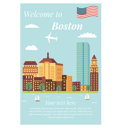 welcome to boston vintage poster landmarks vector image