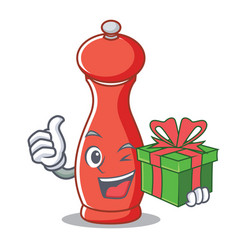 With gift pepper mill character cartoon vector
