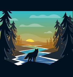 Wolf on sunrise background vector