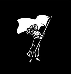 Woman with a flag vector