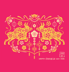 year ox chinese new decoration vector image