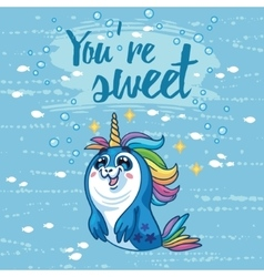 You are sweet Cute card with cartoon vector image