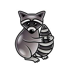 Cute cartoon raccoon isolated vector image