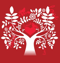 Love tree and doves vector image