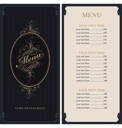 menu in Baroque style vector image