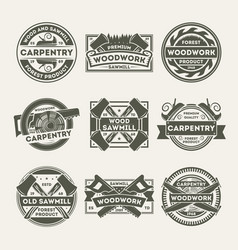 woodwork company vintage isolated label set vector image vector image