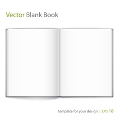 Blank of open book with cover on white background vector image