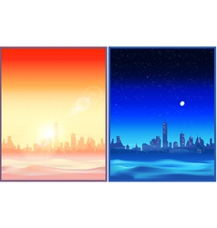 Desert night and evening vector image vector image