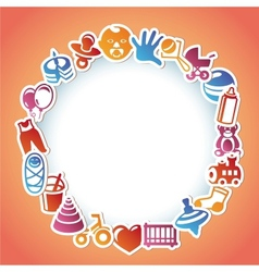 frame with kid and toys stickers vector image vector image
