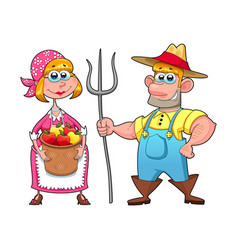 Funny couple of farmers vector