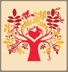Love autumn tree and red doves vector image vector image
