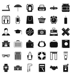 Sporting exercise icons set simple style vector