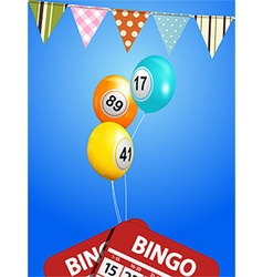 Bingo balloons with bunting and cards vector image vector image