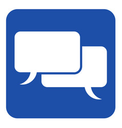 blue white sign two speech bubbles icon vector image