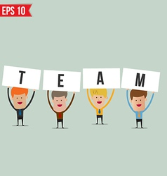 Business man showing teamwork - - EPS10 vector image
