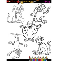 cartoon monkeys coloring book vector image