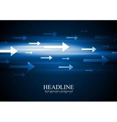 Dark blue hi-tech background with arrows vector image