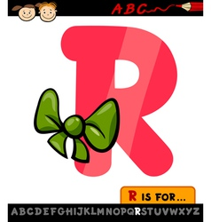 letter r with ribbon cartoon vector image