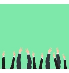Many hands up victory and success gestures of vector image