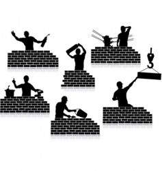 workers silhouettes close-up vector image vector image