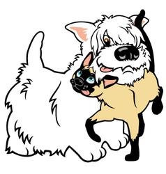 cartoon west terrier and cat vector image vector image