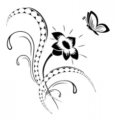 flower pattern tattoo vector image vector image